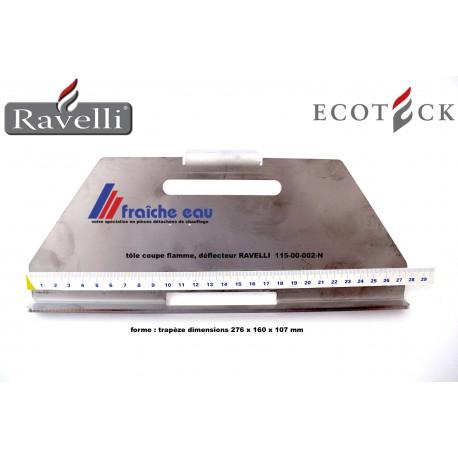 tôle coupe flamme, déflecteur de foyer à pellets RAVELLI 115-00-002-N , coupe feu ,tôle de protection de l'échangeur