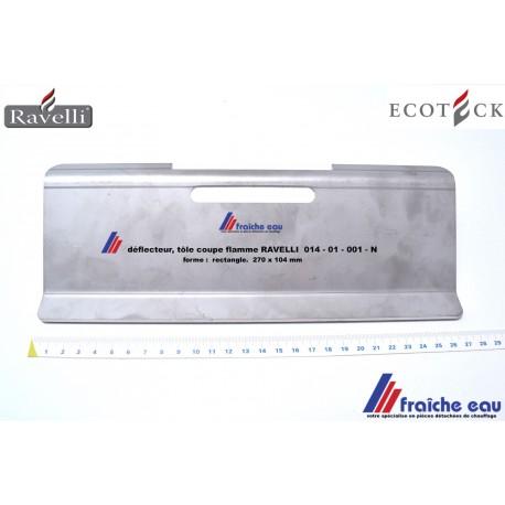 déflecteur, plaque  coupe feu, protection de flamme de l'échangeur RAVELLI  014-0-001-N, tôle  ,coupe famme de poêle à pellets