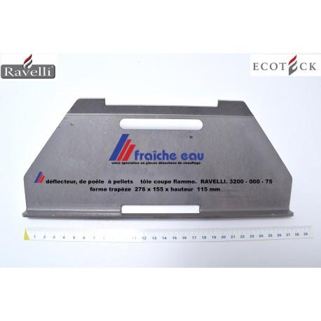 tôle coupe feu RAVELLI 3200-000-75 , déflecteur flamme de poêle et insert à pellets , protection thermique  supérieure du foyer