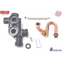 raccord hydraulique jonction de by-pass et échangeur a plaques RIELLO R 10024640 avec tube coudé
