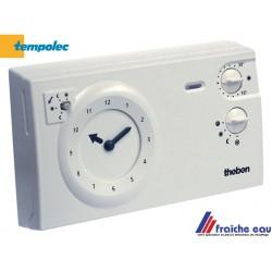 thermostat mural horloge  à aiguilles sur piles,  cadran réversible avec cavaliers de programmation ,  raccordement 2 fils,