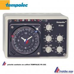 module de priorité sanitaire 2 zones en coffret avec 3 sondes de température  TEMPOLEC  PS202 , avec horloge analogique