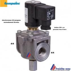vanne gaz à réarmement manuel TEMPOLEC 4/4 FF pour gaz butane , électrovanne bobine 220 volts normalement fermée