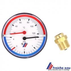 thermomètre de 20 à 120° et manomètre de pression de 0 à 4 bars dans  un seul boitier , thermomanomètre