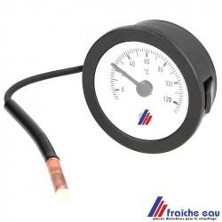 thermomètre à sonde capillaire de panneau pour  l'encastrement dans le tableau de commande  à leuze , fosses, spa,