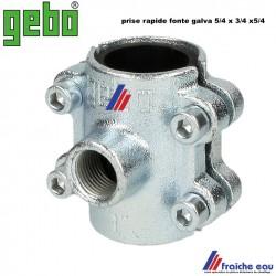 prise rapide , connexion à bride GEBO sur tube acier 5/4 ,sortie du  piquage 3/4 F , selle de branchement diamètre 42 mm