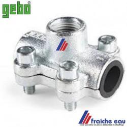 prise rapide GEBO , 1/2 F  raccordement directe sur tube acier diamètre 22 mm en chauffage et sanitaire, joint NBR