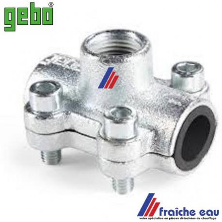 prise rapide GEBO , 1/2 F  raccordement directe sur tube acier diamètre 22 mm en chauffage et sanitaire