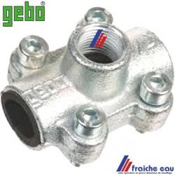 prise rapide GEBO pour tube 3/4 diamètre 27 mm , accouplement à machoires avec joint NBR, sortie de piquage 1/2