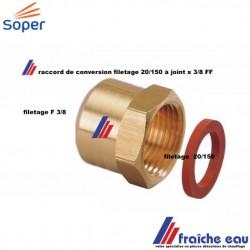 raccord laiton a visser spécifique filetage gaz 20/150 avec joint à la sortie du détendeur  x 3/8 F