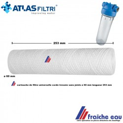 filtre jetable 25 microns pour eau  fibre tressée  ,manchette  filtrante ATLAS FILTRI , universelle longueur 250 mm diamètre 60