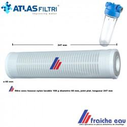 manchette de filtre lavable finesse 100 microns, cartouche de filtration 245 mm à joints plats, pour filtre à rétro lavage