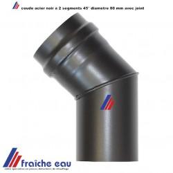 coude à 45° MF diamètre 80 mm raccordement cheminée poêle à granulés avec joint