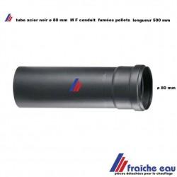conduit d'évacuation 500 mm pour poêle à pellets , raccordement de cheminée diamètre 80 mm acier noir