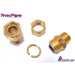 connexion , raccord fileté ,filetage  1/2M x DN 15 basse pression sur tubes inox pliable de la marque TRACPIPE