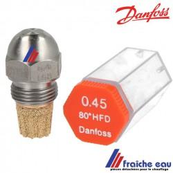 gicleur DANFOSS en acier série  HFD - SFD   de 0,45 gal/h à 0,50 gal / h, précisez le type de cône, le débit  et l'angle