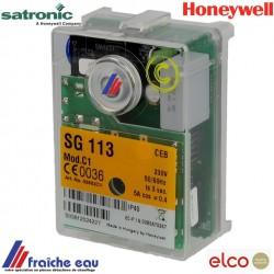 relais de brûleur gaz HONEYWELL- SATRONIC SG 113 mod C1  bloc de contrôle pour chaudière gaz  ELCO  article  13010522