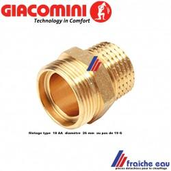 raccord droit GIACOMINI 1/2 mâle  x filetage pour  ecrou universel AA 18, raccord mécanique pour tous types de tubes