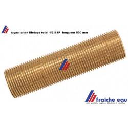 tube en laiton à paroi épaisse complètement fileté 1/2 BSP sur toute la longueur de 500 mm
