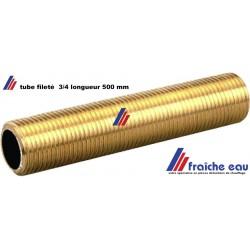 tube fileté en laiton, filetage type plomberie cylindrique 3/4 BSP sur toute la longueur  de 500 mm