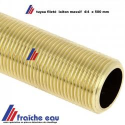 """tube fileté 4/4"""" BSP  laiton  massif  , filetage  cylindrique complet longueur 500 mm"""