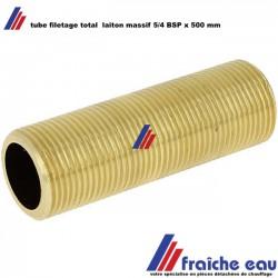 tube fileté laiton massif 5/4 BSP longueur 500 mm,  filetage cylindrique  gaz sur toute la longueur
