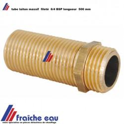 """tube 500 mm filetage complet 6/4""""  laiton  pour raccords de plomberie , filetage gaz sur toute la longueur"""