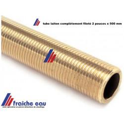 """tube fileté longueur  500 mm complètement, filetage 8/4 """" cylindrique gaz , laiton pour plomberie"""