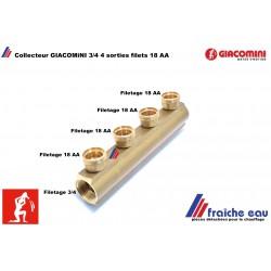 collecteur droit ,nourrice, répartiteur, distributeur GIACOMINI  filetage 3/4 femelle x 4 sorties pour écrou AA 18