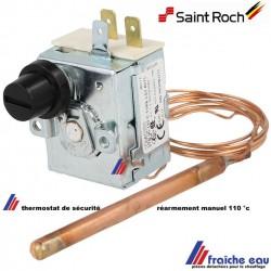 thermostat de sécurité de surchauffe à 110 degrés, SAINT ROCH et ZAEGEL HELD ,réarmement manuel contac NC sur le côté