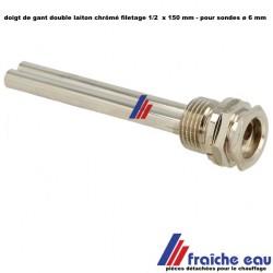 """doigt de gant universel laiton chrôme double 1/2 """" x 150 mm PN10"""