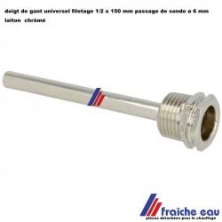 """doigt de gant universel laiton chrôme 1/2 """" x 150 mm PN10 passage de capteur diamètre 6 mm"""