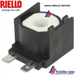bobine d'électrovanne RIELLO 3007565 pour brûleur fioul BGK , la bobine commande l'ouverture de la vanne magnétique