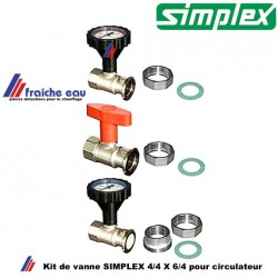 kit de vanne avec thermomètre SIMPLEX  et raccords circulateur 6/4 pour chauffage  pour tubes avec filetage 4/4
