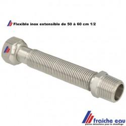 tube flexible inox diamètre 1/2 MF pour sanitaire et chauffage , tube cannelé DN 15  pliable, extensible de 50 à 65 cm