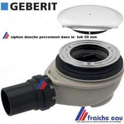 siphon de douche, garniture d'écoulement GEBERIT  pour tub avec percement diamètre 50 mm dans le receveur