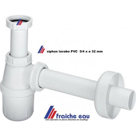 siphon lavabo ABS diamètre 5/4 x 32 mm , coupe air type bouteille, garniture d'écoulement de lave main