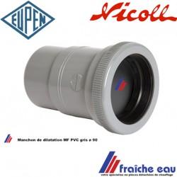 manchon de dilatation EUPEN diamètre 90 MF PVC gris pour décharge des eaux fluviales