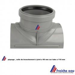selle de branchement à 90° gris  ø 110 x 90  a joint, piquage 90 mm sur tube existant  diamètre 110 mm