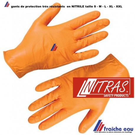 gants de protection , hygiènique jetable , nitrile, NITRAS 50 pièces coloris noir ou orange ,souples et très résistants