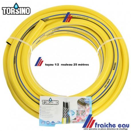 tuyau d'arrosage robuste TORSINO 1/2, rouleau de 25 mètres , matériau tissé multi couche , anti torsion