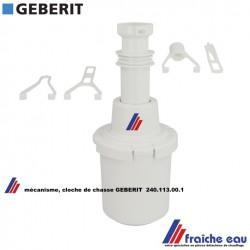 mécanisme de chasse GEBERIT 240.113.00.1 , cloche en échange standard pour réservoir de wc, commande par le haut