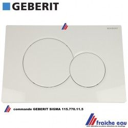 plaque de commande frontale GEBERIT 115.770.11.5 type SIGMA 01 pour réservoir encastré UP320 et UP300 finition blanc