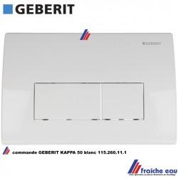 plaque de commande avant de chasse encastrée GEBERIT série KAPPA 50 art: 115.260.111 finition blanc