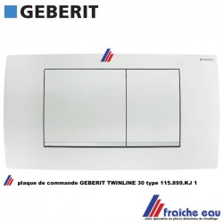 plaque de commande GEBERIT 115.899.KJ 1 pour réservoir de chasse de wc encastré série TWINLINE 30 avec 2 poussoirs