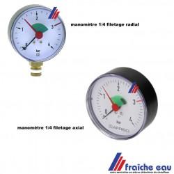 """manomètre pour chauffage avec indication de limite réglable  1/4"""" 4 Bars, précisez filetage axial ou radial"""