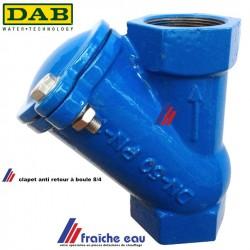 clapet à boule auto nettoyant filetage 8/4 DAB placement en postion verticale empêche le reflux, refoulement en eau chargée