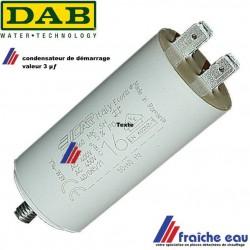 condensateur de démarrage pour moteur électrique de pompe DAB valeur 3 µf  DAB