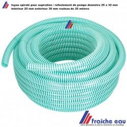tuyau spiralé en plastique souple diamètre 25 x 30 mm pour évacuation de pompe vide cave, rouleau de 25 mètres
