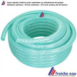 tuyau spiralé  PVC renforcé diamètre 32 x 37,6 mm , aspiration groupe hydrophore ou refoulement de pompe , rouleau de 25 mètres
